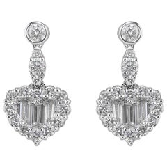 CJ Charles 18 Karat White Gold Heart-Shaped Diamond Earrings