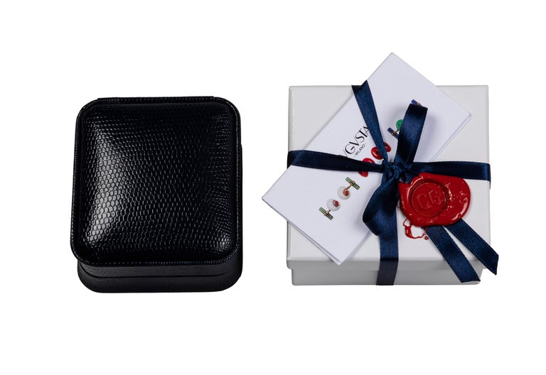 Women's or Men's 18 Karat White Gold Hematite and Emeralds Octagonal Cufflinks For Sale