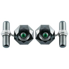 18 Karat White Gold Hematite Emeralds Octagonal Cufflinks
