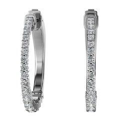 18 Karat White Gold Hoop Diamond Earrings '1 Carat'