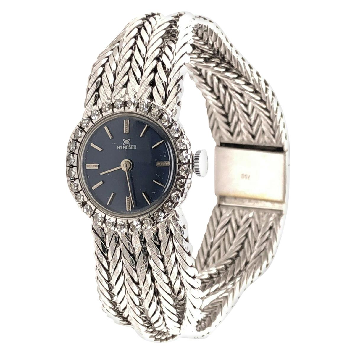 18 Karat White Gold HY MOSER Watch with Diamonds