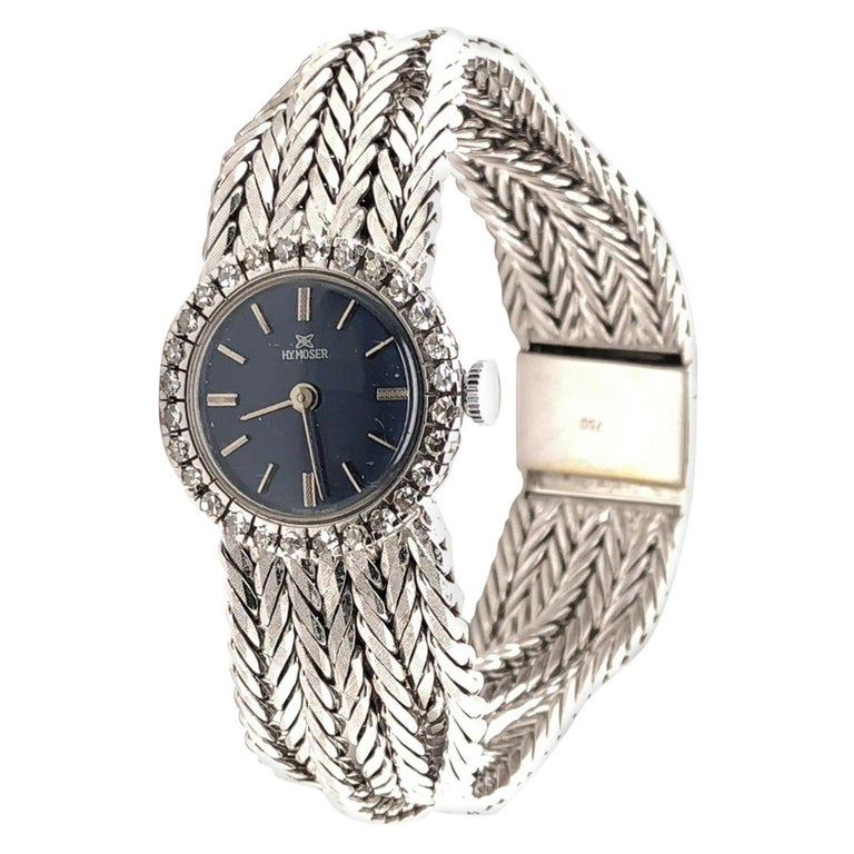 18 Karat White Gold HY MOSER Watch with Diamonds For Sale