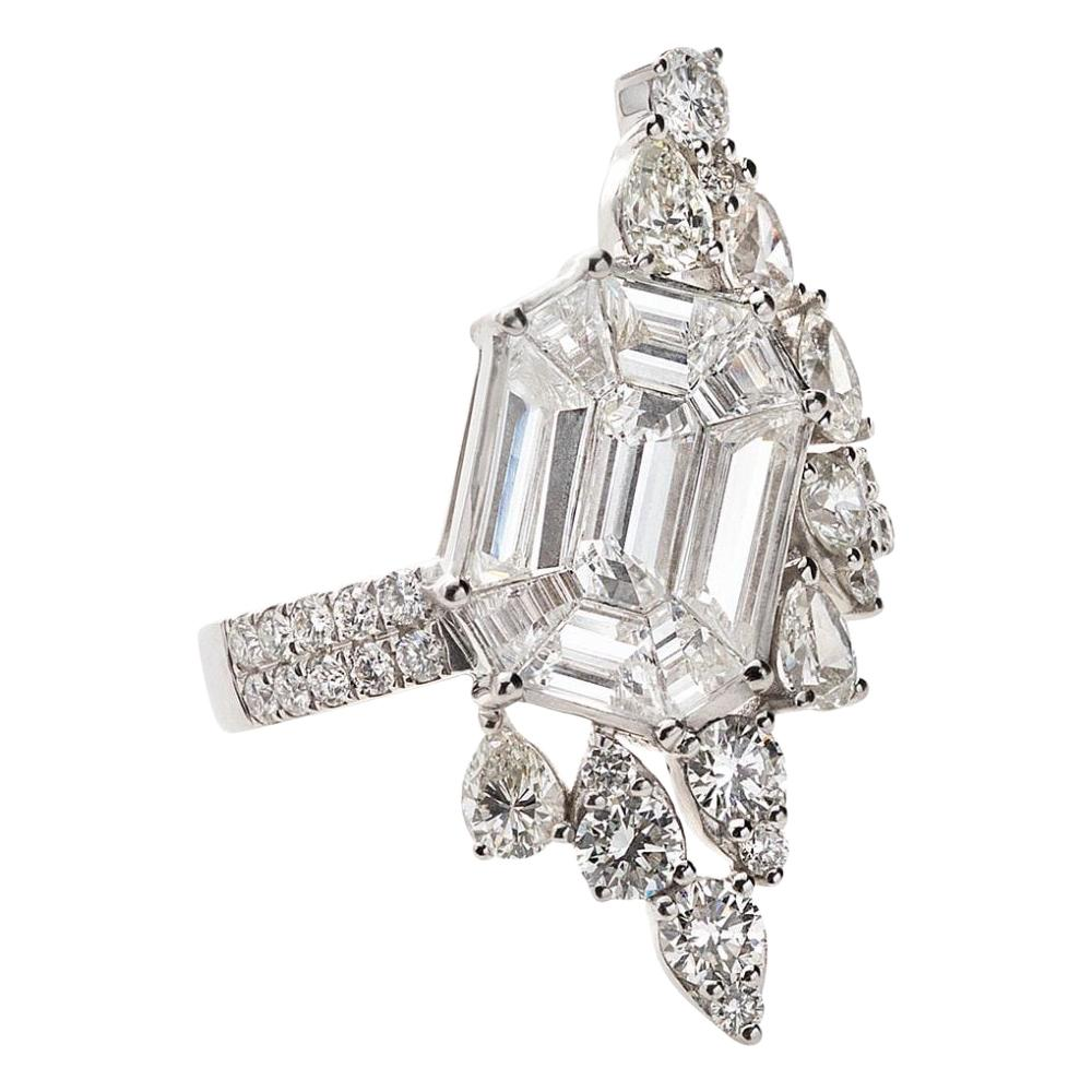 18 Karat White Gold Illusion Large Asymmetrical Diamond Ring