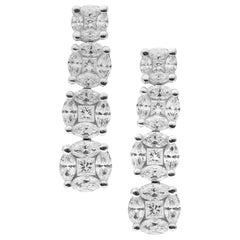 18 Karat White Gold Illusion Setting Diamond Earrings