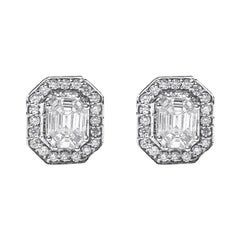 18 Karat White Gold Illusion Setting Diamond Earstuds