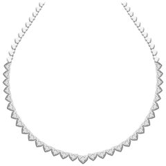 18 Karat White Gold Illusion Setting Diamond Necklace Set