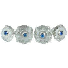 18 Karat White Gold in Rock Crystal Mother of Pearl Sapphires Cufflinks
