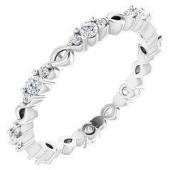 18 Karat White Gold Infinity Inspired Round Diamond Wedding Ring Eternity Band