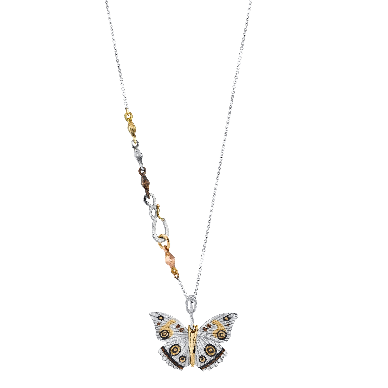 18 Karat White Gold Inlay White Buckeye Butterfly Necklace