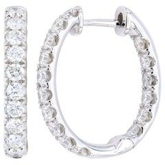 18 Karat White Gold Inside Outside Hoop Earrings