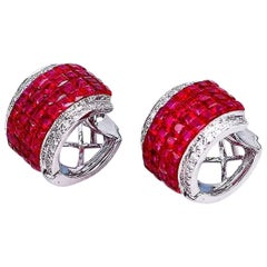 18 Karat White Gold Invisible Ruby Hoop Earrings