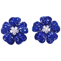 18 Karat White Gold Invisible Sapphire and Diamond Clip-On Earrings