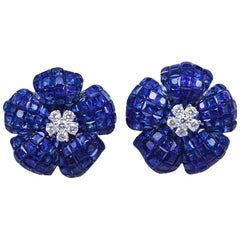 18 Karat White Gold Invisible Sapphire and Diamond Flower Clip-On Earrings