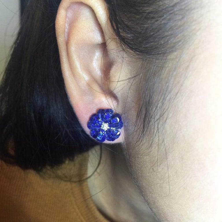 Women's 18 Karat White Gold Invisible Sapphire Flower Stud Earrings For Sale