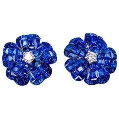 18 Karat White Gold Invisible Sapphire Flower Stud Earrings