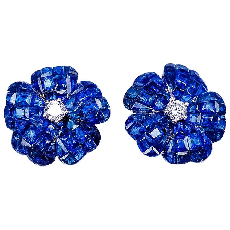 18 Karat White Gold Invisible Sapphire Flower Stud Earrings For Sale