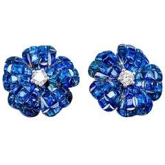 18 Karat White Gold Invisible Sapphire Flower Stud Earrings