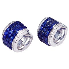 18 Karat White Gold Invisible Sapphire Hoop Earrings 'S'