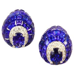 18 Karat White Gold Invisible Sapphire Stud Earrings