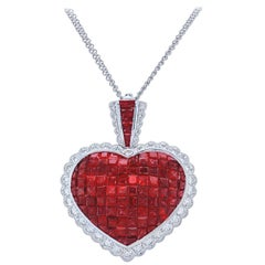 18 Karat White Gold Invisible Set Ruby and Diamond Pendant