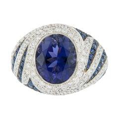 18 Karat White Gold Iolite Sapphire and Diamond Cocktail Ring