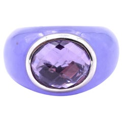 18 Karat White Gold Jade and Amethyst Ring