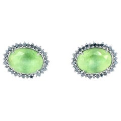 18 Karat White Gold Jade and Black Diamond Martha Stud Earrings