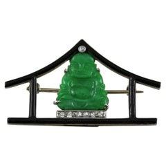18 Karat White Gold Jade Black Enamel Buddha Brooch Art Deco