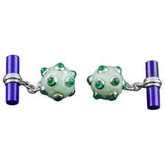 18 Karat White Gold Jade Emeralds Lapis Lazuli Submarine Mine Cufflinks