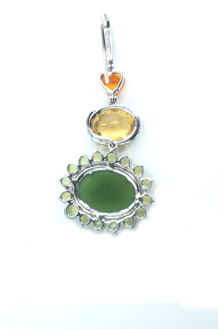 Women's Sharon Khazzam 18K White Gold Jade, Fire Opal, Yellow Beryl and Peridot Eardrops