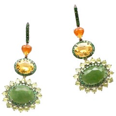 Sharon Khazzam 18K White Gold Jade, Fire Opal, Yellow Beryl and Peridot Eardrops