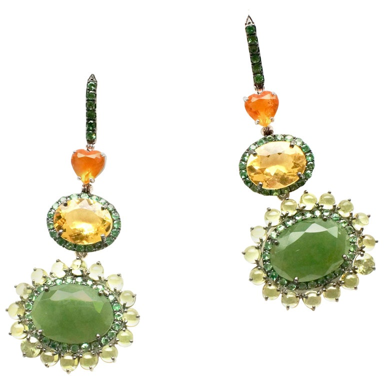 White gold, jade, fire opal, yellow beryl and peridot eardrops