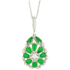 18 Karat White Gold Jadeite and Diamond 2-Sided Pendant with Necklace