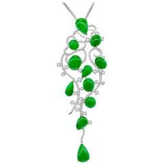 18 Karat White Gold Jadeite and Diamond Pendant with Necklace