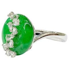 18 Karat White Gold Imperial Jadeite and Diamond Ring