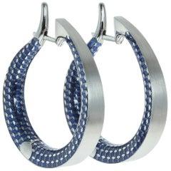 18 Karat White Gold Kaleidoscope Enamel Hoop Earrings