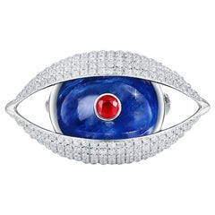 18 Karat White Gold, Kyanite, Ruby, Pave Diamond-The EYE Brooch Unisex