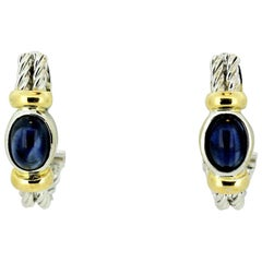 18 Karat White Gold Ladies Clip-On Earrings with Cabochon Blue Sapphires, 1990s