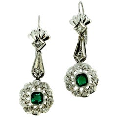 18 Karat White Gold Ladies Clip-On Earrings with Emeralds and Diamonds