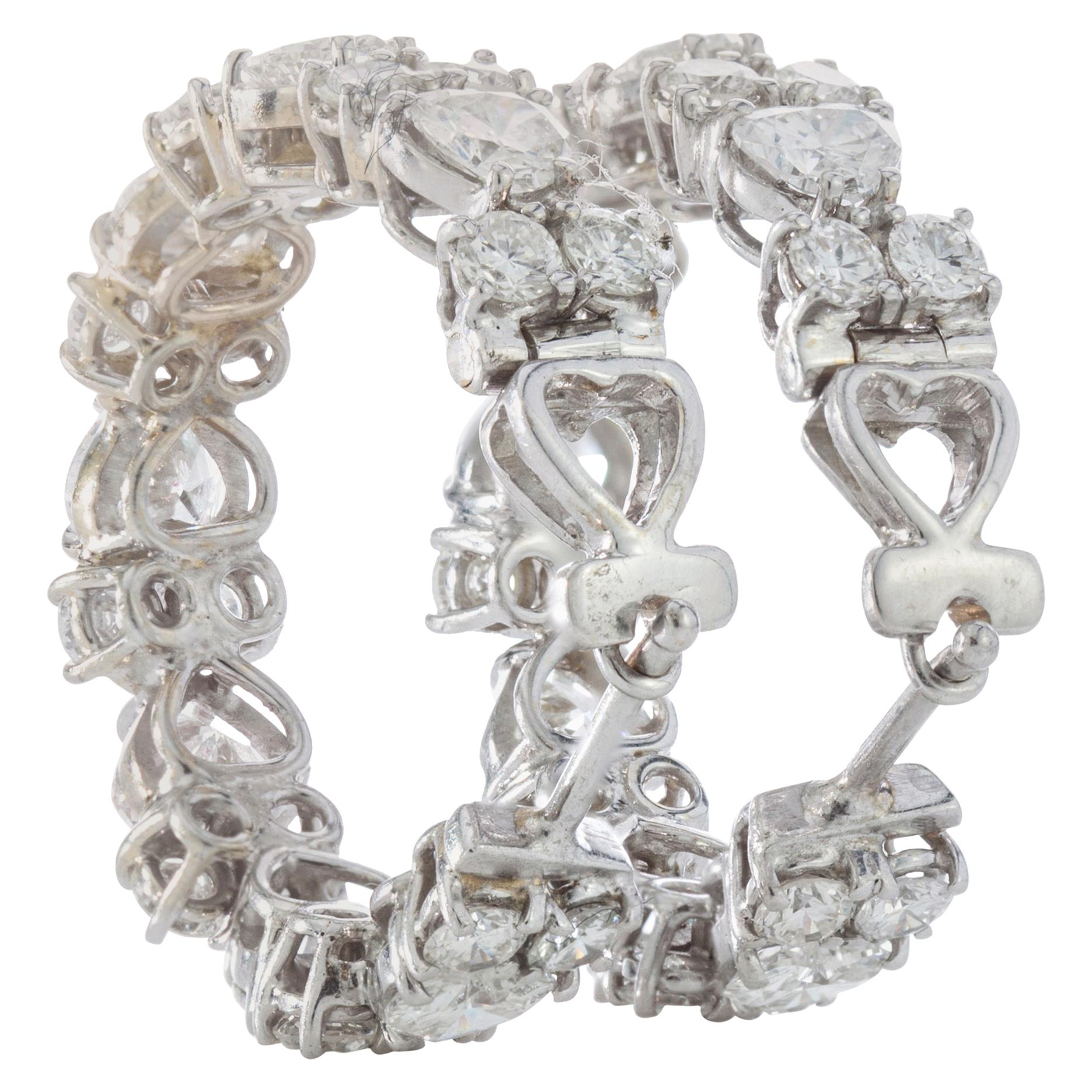 18 Karat White Gold Ladies Clip-On Earrings with Heart Cut Diamonds