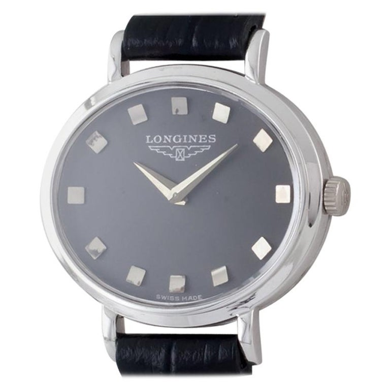 18 Karat White Gold Ladies Longines Oval Hand-Winding Watch Mov #312 For Sale