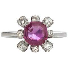 18 Karat White Gold Ladies Ring with Natural 1 Carat Burmese Ruby and Diamonds