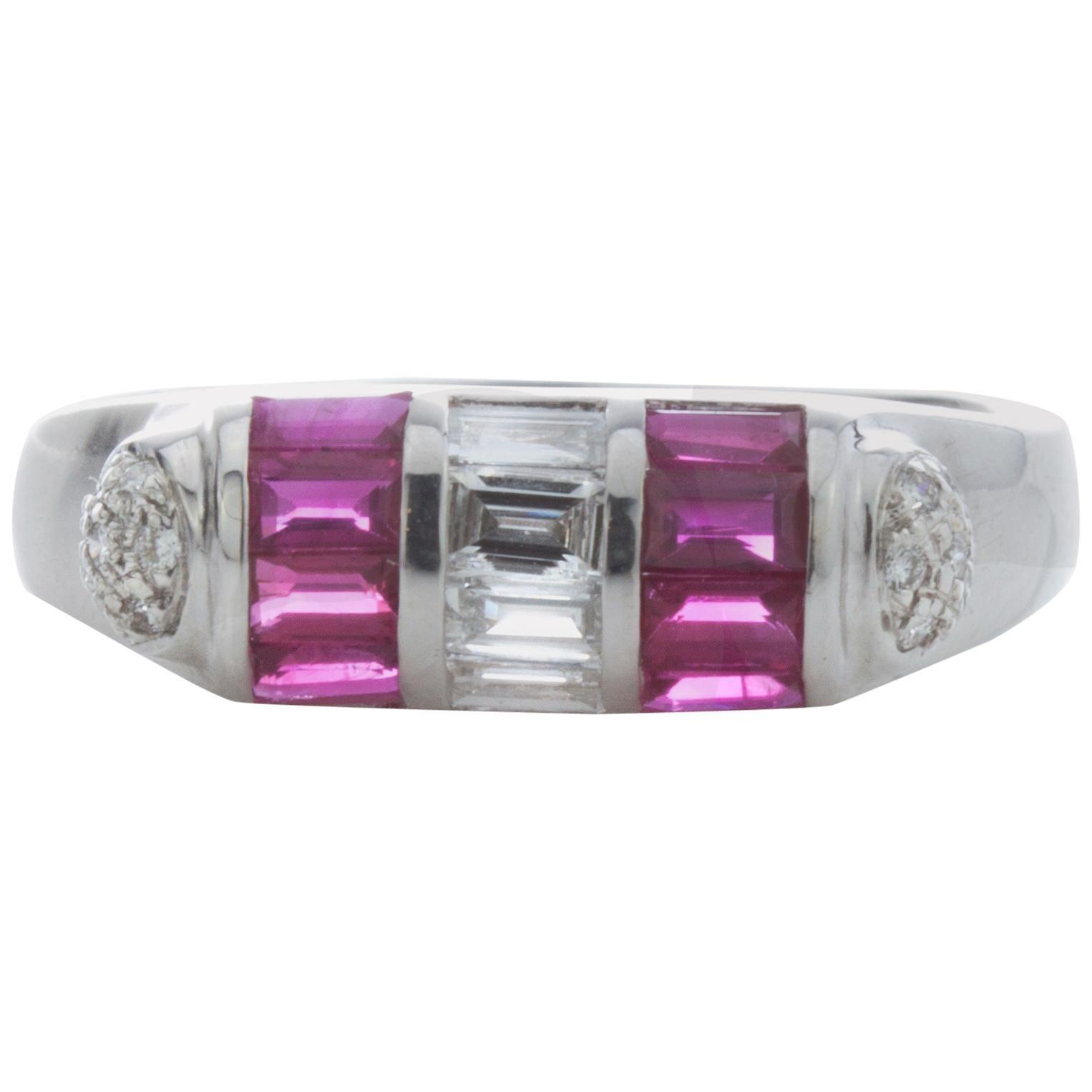 18 Karat White Gold Ladies Ring with Rubies and Diamonds