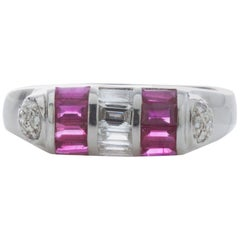 18 Karat White Gold Ladies Ring with Rubies and Diamonds