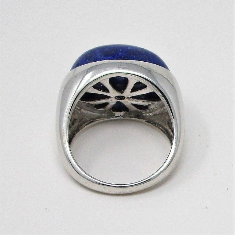 18 Karat White Gold Lapis Lazuli Ring For Sale 5