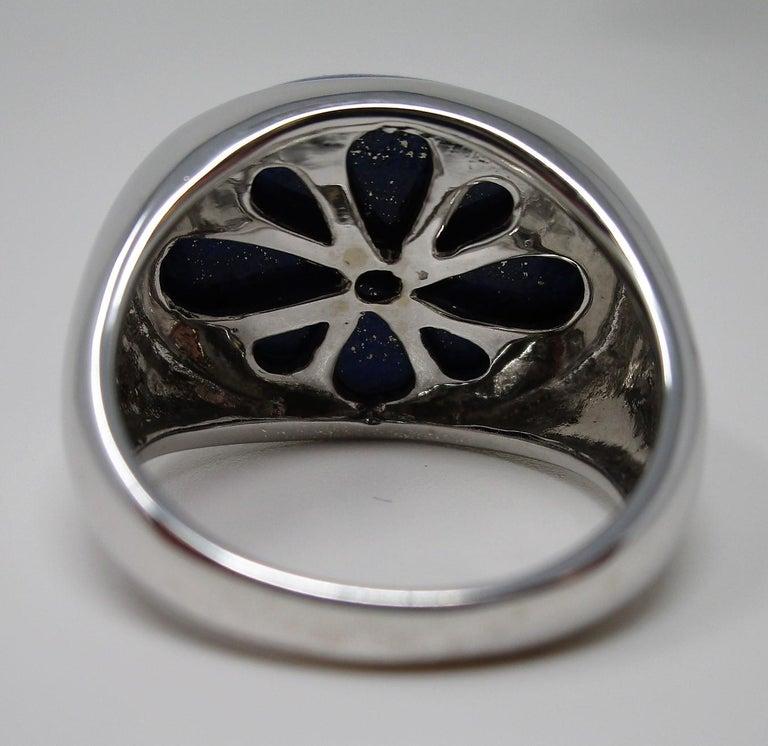18 Karat White Gold Lapis Lazuli Ring For Sale 1