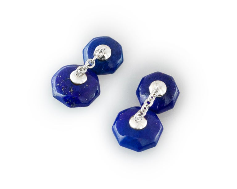 18 Karat White Gold Lapis Lazuli Rubies Carved Octagonal Cufflinks In New Condition For Sale In Milano, IT
