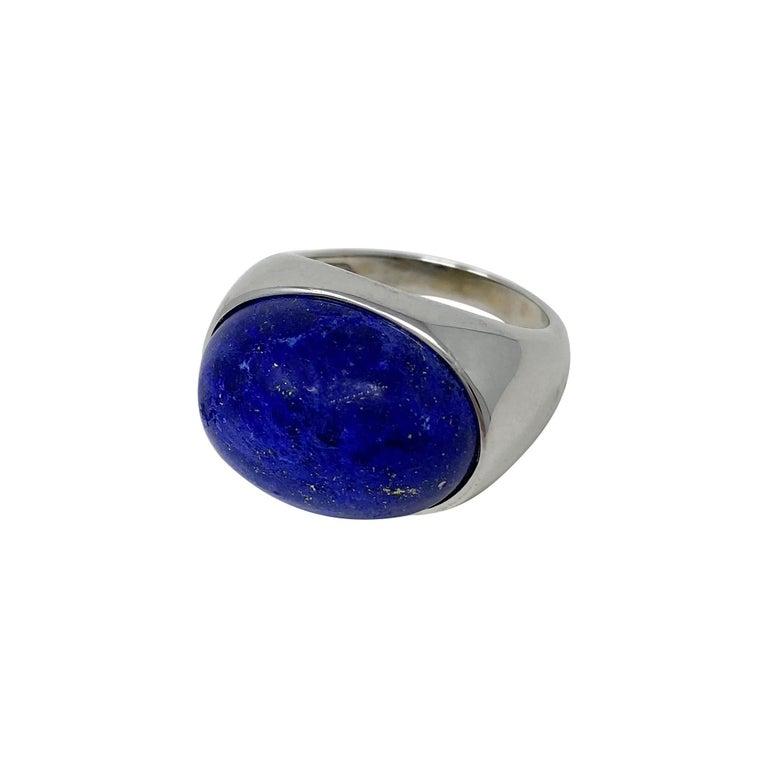 Cabochon 18 Karat White Gold Lapis Lazuli Ring For Sale