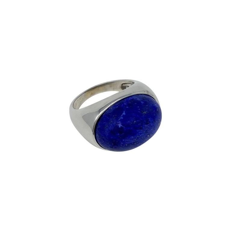 Women's or Men's 18 Karat White Gold Lapis Lazuli Ring For Sale