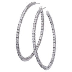 18 Karat White Gold Large Diamond Hoop Earrings